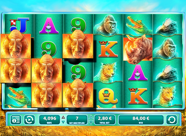 Raging Rhino slot - 4096 ways to win in Casumo casino