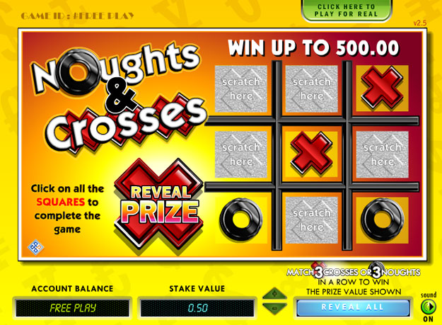 Nought and Crosses Scratch Cards Screenshot